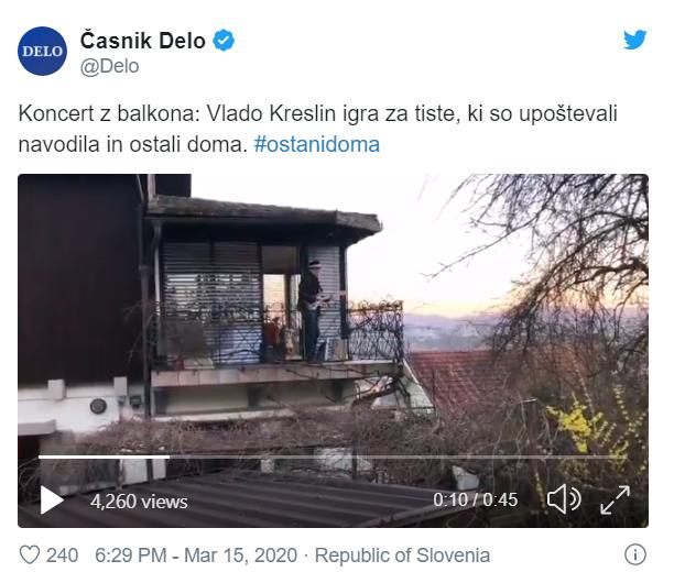 Kreslin igra na balkonu
