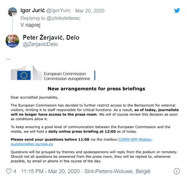 EK spreminja novinarske konference
