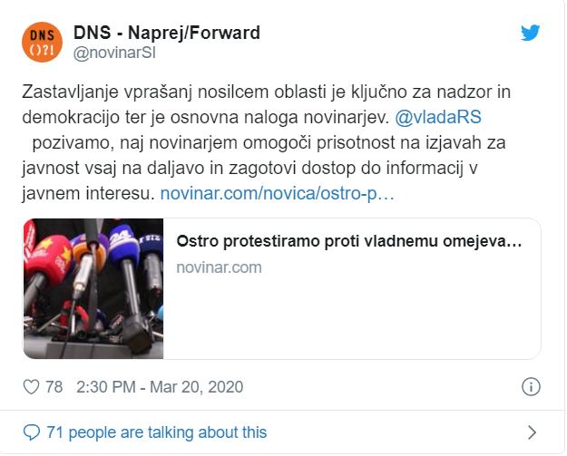 DNS poziva k nevarnemu opravljanju dela