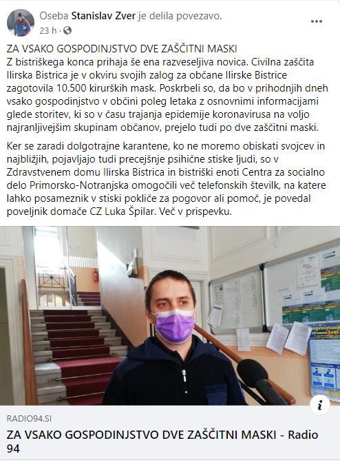 Zaščitne maske v Ilirski Bistrici