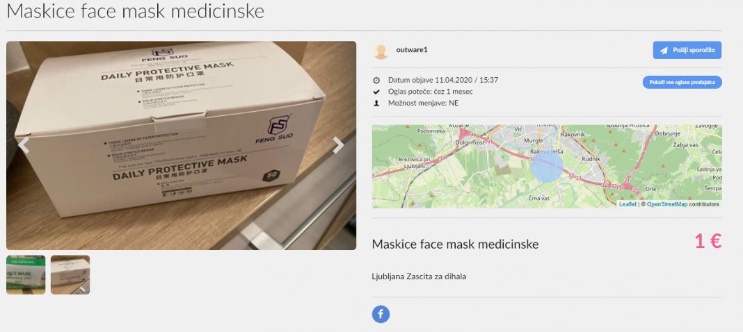 Prodaja ukradenih mask