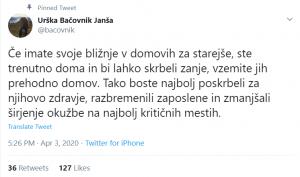 Urška Bačovnik Janša pozvala naj družine vzamejo svoje svojce iz domov za starejše občane