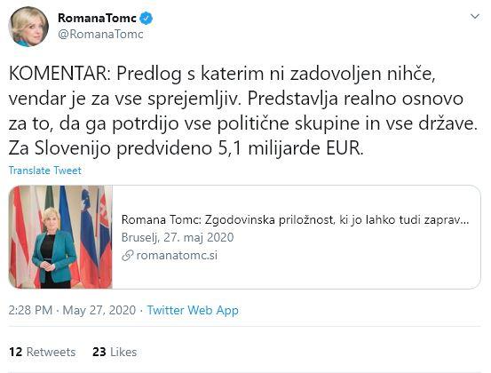 Romana Tomc o pomoči EU