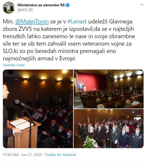 Minister Tonin se je udeležil zbora Zveze veteranov vojne za Slovenijo v Lenartu