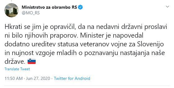 Minister napovedal ureditev statusa veterana vojne za Slovenijo