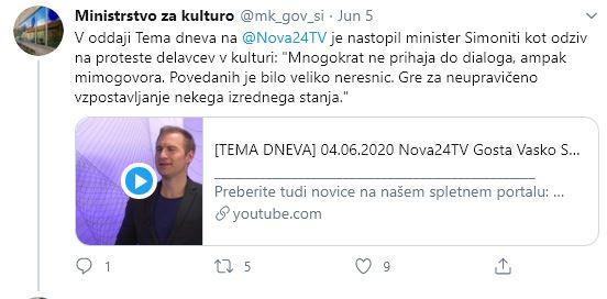 Odziv ministra Simonitija na proteste