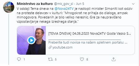 Odziv ministra Simonitija